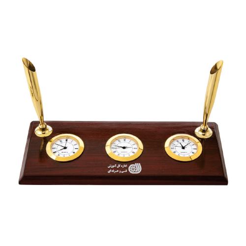 ساعت رومیزی کد 5514 |دیدار هدیه ایرانیان | هدیه تبلیغاتی در مشهد | همواره در مقابل دیدگان|ساعت رومیزی چوبی ،سه زمانه ، جا خودکاری |