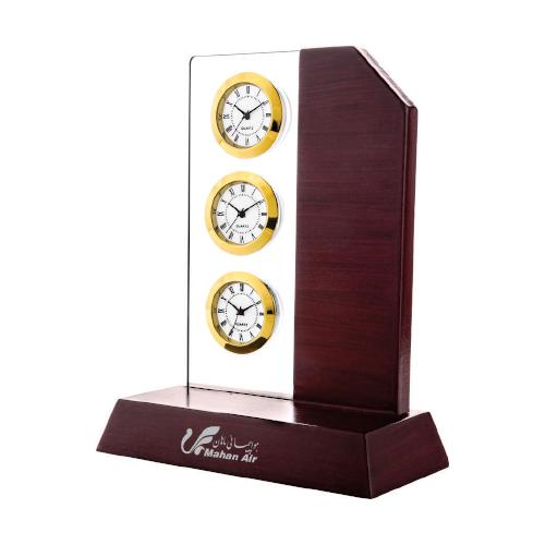 ساعت رومیزی کد 5516| دیدار هدیه ایرانیان | هدیه تبلیغاتی در مشهد | همواره در مقابل دیدگان|ساعت رومیزی مدیریتی چوبی |سه زمانه چوب و پلکسی |