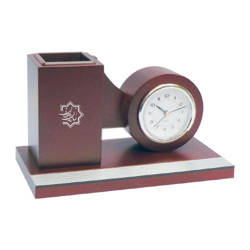 ساعت رومیزی کد 5533| دیدار هدیه ایرانیان | هدیه تبلیغاتی در مشهد | همواره در مقابل دیدگان|ساعت رومیزی چوبی ، جا خودکاری |