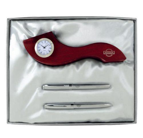 ست نفیس کد7067 دیدارهدیه ایرانیان هدیه تبلیغاتی درمشهد ست خودکار،روان نویس،ساعت رومیزی همراه با جعبه نفیس 