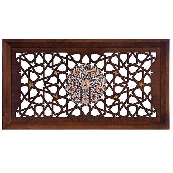 قاب نفیس کد 1460|دیدار هدیه ایرانیان|هدیه تبلیغاتی در مشهد|تابلو گره چینی |مجموعه چوب و مینا طرح شمسه قهوه ای|